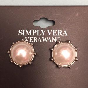 Vera Wang Faux Pearl Pierced Earrings New White